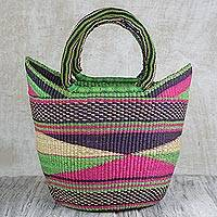 Raffia handle handbag, 'Gebula' - Hand Woven Pink and Lime Raffia Handle Handbag from Ghana