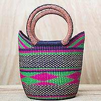 Leather accent raffia handle handbag, 'Diamond Rainbow' - Artisan Hand Woven Raffia Multicolored Handle Handbag