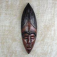 African wood mask, 'Obaapa Woman' - Hand Carved West African Sese Wood Wall Mask