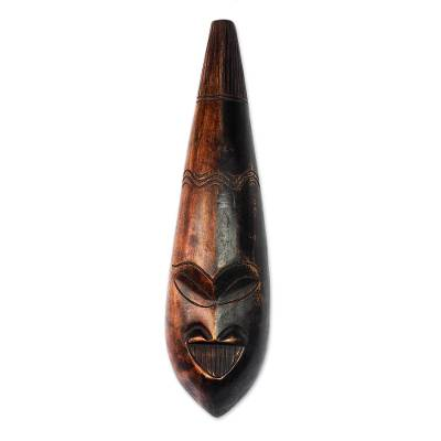Black and Brown African Wood Mask from Ghana