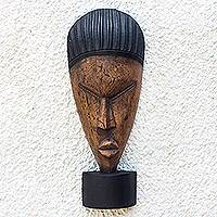 African wood mask, 'Obaa Pa Face' - Rustic African Wood Mask on a Stand from Ghana