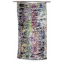 Cotton batik wall hanging, 'Echoes of Africa' - Artisan Crafted Multi-Colored Cotton Batik Wall Hanging