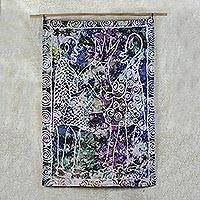 Batik cotton wall hanging, 'Ojelu' - Colorful Batik Cotton Wall Hanging from Ghana