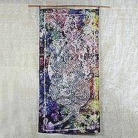 Batik cotton wall hanging, 'Guidance' - Abstract Batik Cotton Wall Hanging from Ghana