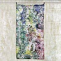 Batik cotton wall hanging, 'Journey in Life' - Multicolor Cotton Batik Owl and Person Wall Hanging