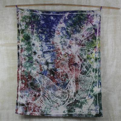 Cotton batik wall hanging, 'Lonely Maiden' - Multi-Colored Sitting Woman Cotton Batik Wall Hanging