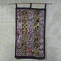 Cotton batik wall hanging, 'African Heritage' - African Heritage Cotton Batik Multi-Colored Wall Hanging