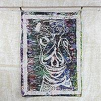 Batik cotton wall hanging, 'Calling for Action' - Colorful Cotton Batik Woman Calling for Action Wall Hanging