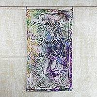 Batik cotton wall hanging, 'Maternal Love' - Colorful Cotton Batik Mother with Baby Wall Hanging