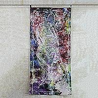 Batik cotton wall hanging, 'Let's Celebrate' - Person Celebrating Multicolor Cotton Batik Wall Hanging