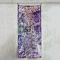 Batik cotton wall hanging, 'Woman's Strength' - Strength of Women Multicolor Cotton Batik Wall Hanging