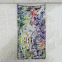 Batik cotton wall hanging, 'Wisdom and Guidance' - People in Wise Council Multicolor Cotton Batik Wall Hanging
