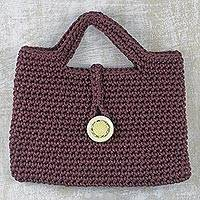 Crocheted handle handbag, 'Woven Delight' - Crocheted Handle Handbag in Bordeaux from Ghana