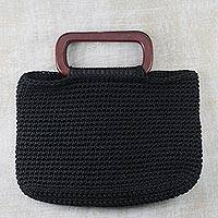 Macrame handbag, 'Classic Midnight' - Hand Woven Black Handle Handbag from West Africa