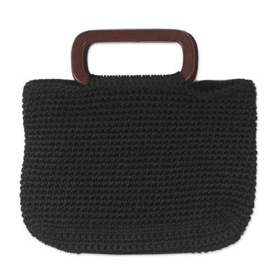 Hand Woven Black Handle Handbag from West Africa