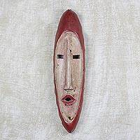 African wood mask, 'Agrobeso' - Hand Carved African Sese Wood Mask from Ghana