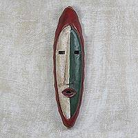 African wood mask, 'Agrobeso in Crimson' - Hand Carved Sese Wood Wall Mask from West Africa