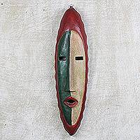 African wood mask, 'Agrobeso in Green and Red' - Hand Carved Sese Wood Wall Mask from West Africa