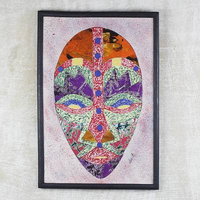 Cotton batik collage, 'Onua' - Ghanaian Batik African Mask Collage in a Wood Frame