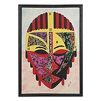Cotton batik collage, 'Obrapa' - Cotton Batik African Mask Oil on Cotton Collage from Ghana