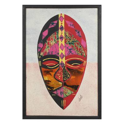 Cotton batik collage, 'Think Twice' - Cotton African Mask Oil on Cotton Batik Collage from Ghana
