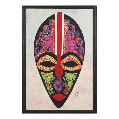 Cotton batik collage, 'Odo Akan' - African Mask Oil on Cotton Batik Collage from Ghana