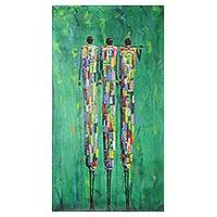 'In the Jungle II' - Signed Expressionist Painting of Three Hunters from Ghana