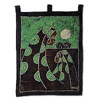 Cotton batik wall hanging, 'Mother's Care in Green' - Cotton Batik Mother and Child Wall Hanging Handmade in Ghana
