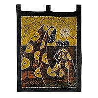Cotton batik wall hanging, 'Mother's Care in Yellow'