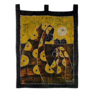 Cotton batik wall hanging, 'Mother's Care in Yellow' - Cotton Batik Mother and Child Wall Hanging Handmade in Ghana