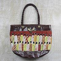 Batik cotton and leather tote, 'Gather Together' - Handcrafted Batik Cotton Accent Leather Tote from Ghana