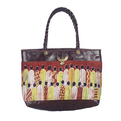 Novica Leather accent batik linen tote bag, Cultural Gathering