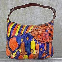 Leather tote, 'Party People' - Handcrafted Leather Tote in Espresso from Ghana