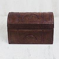 Leather CD box, 'Abstract Nature' - Embossed Leather CD Box Crafted in Ghana
