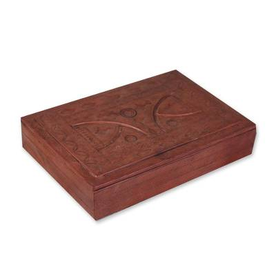 Jewelry box, 'Bamako Visions I' - Leather Covered Wood Jewelry Box from Ghana