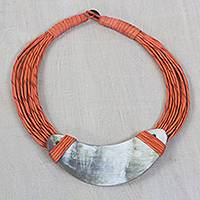 Horn pendant necklace, 'Somo'