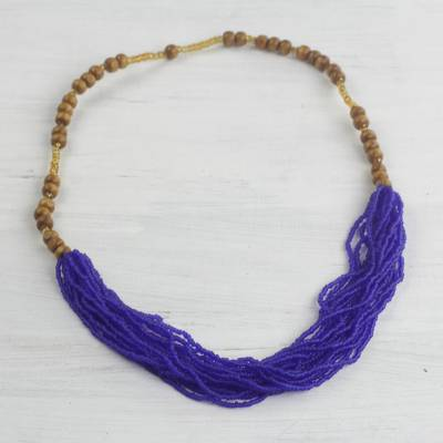 Glass and wood beaded necklace, 'Regal Blue-Violet' - Recycled Glass Beaded Necklace in Blue-Violet from Ghana