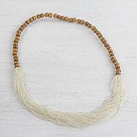 Glass beaded necklace, 'Cool White Beauty' - Recycled Glass Beaded Necklace in Cool White from Ghana