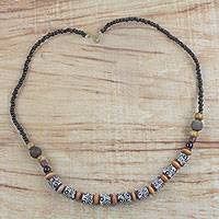 Recycled glass and wood beaded necklace, 'Tribal Garland' - Recycled Glass and Sese Wood Beaded Necklace from Ghana