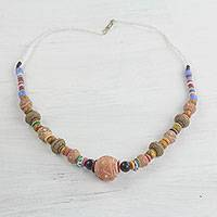 Ceramic and recycled glass beaded necklace, 'Celebrate Diversity' - Ceramic and Recycled Glass Long Beaded Necklace from Ghana