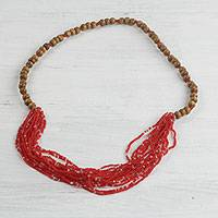 Glass beaded necklace, 'Cardinal Red Beauty' - Recycled Glass Beaded Necklace in Cardinal Red from Ghana