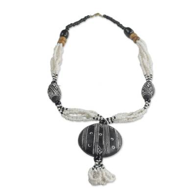 Ceramic and recycled glass beaded pendant necklace, 'Terracotta Queen' - Ceramic and Glass Beaded Pendant Necklace from Ghan