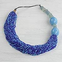 Recycled glass beaded necklace, 'Glacial Wave' - Handmade Blue Recycled Glass Bead Necklace from Ghana