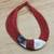 Leather and bone statement necklace, 'Ghanaian Nooma' - Ghanaian Red Leather and Bone Statement Cord Necklace (image 2) thumbail
