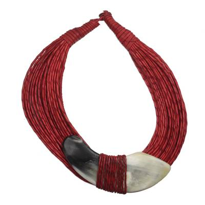 Leather and bone statement necklace, 'Ghanaian Nooma' - Ghanaian Red Leather and Bone Statement Cord Necklace