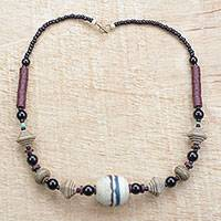 Recycled glass beaded necklace, 'Peace and Wisdom' - Recycled Glass and Plastic Beaded Necklace from Ghana