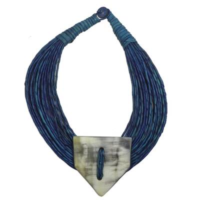 Leather and bone statement necklace, 'Posongo' - Ghanaian Blue Leather and Bone Statement Cord Necklace