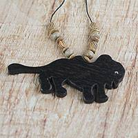 Wood pendant necklace, 'Wild Beast' - Handmade Wood Beaded Pendant Bull Necklace from Ghana