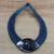 Leather and bone statement necklace, 'Masongo' - Ghanaian Blue Leather and Bone Statement Cord Necklace thumbail