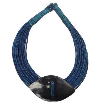 Leather and bone statement necklace, 'Masongo' - Ghanaian Blue Leather and Bone Statement Cord Necklace